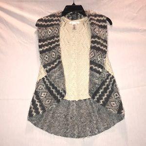 Fur trimmed crochet knit sweater